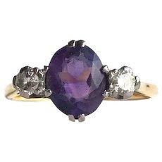 Edwardian Amethyst and Diamond 18 Carat Gold Three Stone Ring