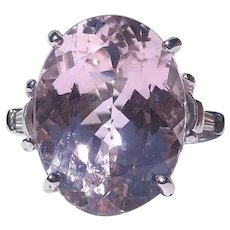Vintage Pink Kunzite and Diamond Platinum Cocktail Ring