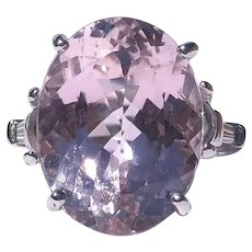 Vintage Pink Kunzite and Baguette Diamond Platinum Cocktail Ring