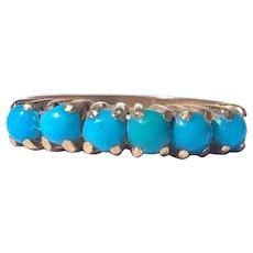 Edwardian Turquoise and 18 Carat Gold Six-Stone Ring