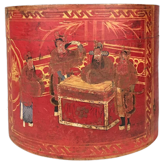 Red Chinese Hat Box with Lid