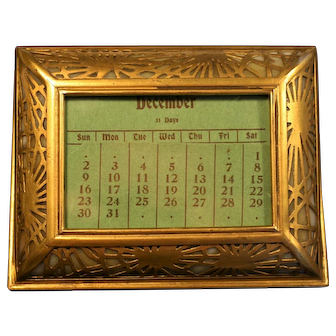 Rare Tiffany Studios Pine Needle Calendar, #930, in Excellent condition with Complete Calendar inserts, circa 1915 (no cracked glass)