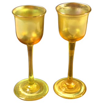 "Pair of Unique Tiffany Favrile Cordial formal Glasses signed ""L. C. T."" , gorgeous gold color, circa 1910"