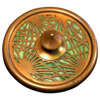 Rare Tiffany Studios Pine Needle Paperweight, 936, Excellent Condition with bronze, and green and white Slag Glass (no cracks), circa 1910