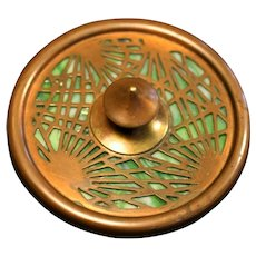 Rare Tiffany Studios Pine Needle Paperweight, #936, in Exceptional Condition with bronze, and green and white Slag Glass (no cracks), circa 1910