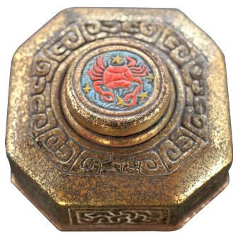 Acid-Etched Tiffany Studios Zodiac Inkwell, 842, with Glass Insert and rare Enamel detail