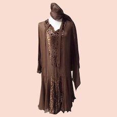 1920's Silk and Velveteen Dress and Scarf