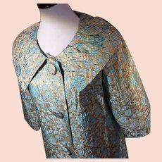 1960's Turquoise and Gold Lurex Swingcoat