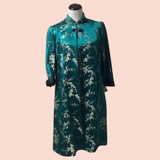 1960's Cheongsam Teal and Black Opera Coat with Frog Closure