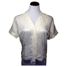 1920's White Timely Blouse with Hidden Buttons