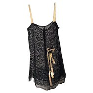 1920's Black Lace Teddy with Crotch Thong