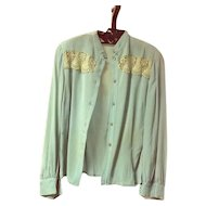 1920's Silk Blouse With Lace and Rhinestones