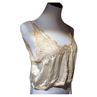 Early 1900's Handtatted Lace and Silk Bralette