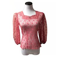 1950's Coral Lace Blouse with Rhinestones