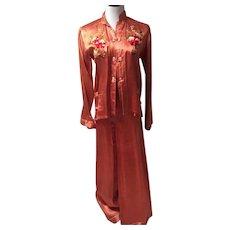 1940's Stunning Embroidered Cheongsam Pajamas