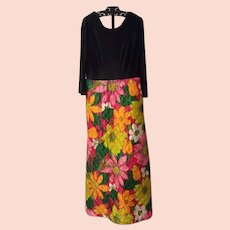1970's Quilted Maxi Dress with Large Floral Design