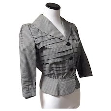 1950's Black and White Peplum Button-up Blouse