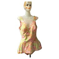 1960's  Floral Skirted Lo-Back Swimsuit