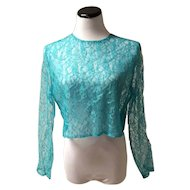 1960's Turquoise Lace Blouse with Clear Buttons on the Back