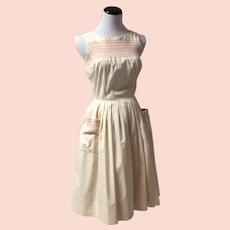 1950's Rockabilly Pink Smocked Dress