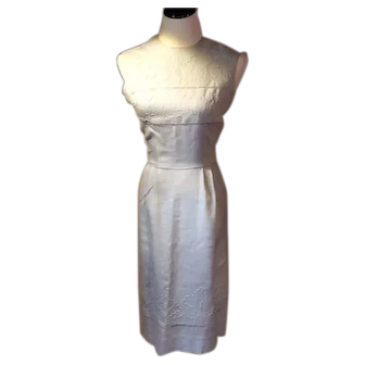 1960's Carlye Irish Linen Eyelet Dress