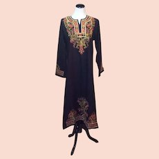 1970's Morrocan Embroidered Maxi Tunic Dress