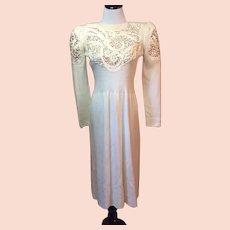 1970's Pat Sandler for Wellmore Ivory Boucle Knit Dress