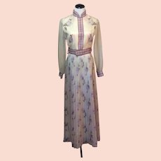 1960's Alfred Shaheen Pleated Skirt Maxi with Belt