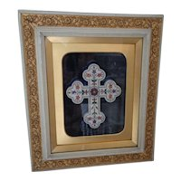 Magnificent Vintage Pietra Dura Crucifix in Moulded Shadow Box Frame