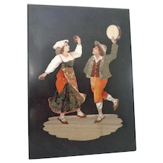 Antique Italian Pietra Dura Plaque or Panel With Dancing Villagers