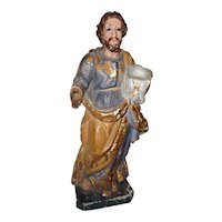 Antique 18th/Early 19th Century Spanish Colonial Polychrome Sculpture of San Jose