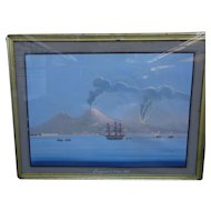 Immaculate Totally Original 19th Century Bay of Naples School Gouache 1861