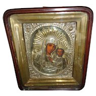 Antique 19th Century Russian Icon Virgin Mother & Christ Child