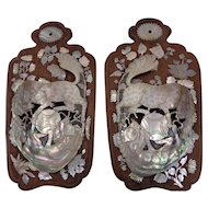 A Beautiful Vintage Pair of Carved Pearl & Abolone Shell Shishi Wall Pockets