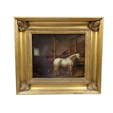 Antique 19th Century Equestrian Portrait Thoroughbreds Amazing Quality