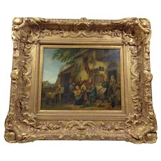 Wonderful Antique 19th Century Traditional Flemish Tavern Scene