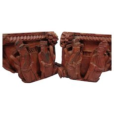 Two Antique Chinese Architectural Temple Carvings