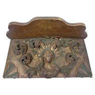 Antique Graceful French Carved Madonna Wall Shelf 18th Century