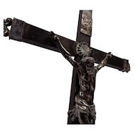 Antique Crucifix Reliquary Silver And Wood Baroque Circa 1700