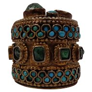 Magnificent Hand Made Gold Box Set With Emeralds And Turquoise