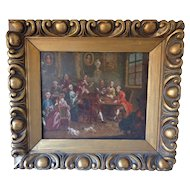 Antique 18th Century Satyrical Aristocrat Rococo Interior Scene