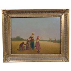Most Lovely Antique Oil Gleaning After Harvest Realism Circa 1900