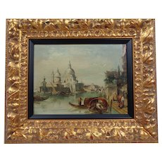 Antique Venetian Canal Scene Circa 1860 Attributed To Famous British Artist