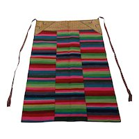 Striking Museum Quality Antique Tibetan Rainbow Apron Pangden Circa 1900