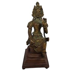 Antique Rare Gilt Bronze Divinity Goddess Tara 17th Century