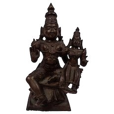 Excellent Antique South Indian Bronze Icon of Vishnu & Lakshmi