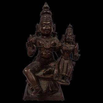 Excellent Antique South Indian Bronze Icon of Vishnu & Lakshmi