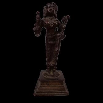 Antique 19thC Delightful South Indian Bronze Icon of Yashoda Holding Infant Krisha