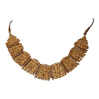 Antique Gorgeous Ethnic Indian Hand Made Gilt Silver Necklace