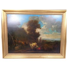 Antique Old Master Italianate Landscape On Panel 18th Century